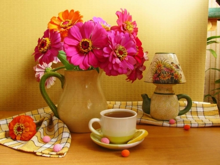 Time for a hot cup! - tea, colorful, still life, photography, relax, flowers