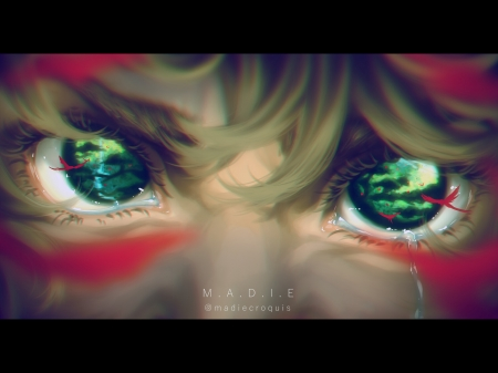 Jungle eyes - green, eye, red, art, madie croquis, fantasy, jungle