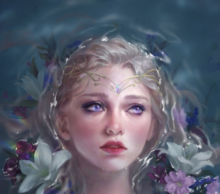 Fantasy girl - art, fantasy, water, girl, luminos, grace zhu, flower, face, jewel