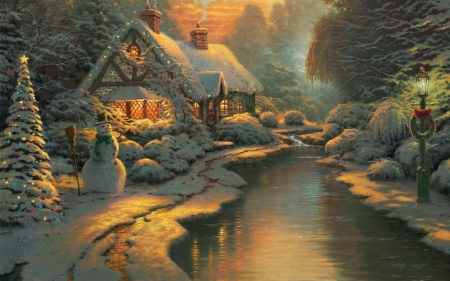 christmas - xmaslights, snowman, cottage, winter, river