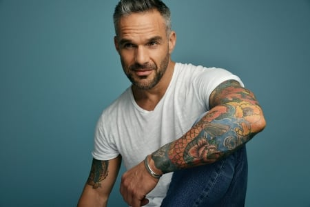 Philippe Bas - man, Philippe Bas, tattoo, actor