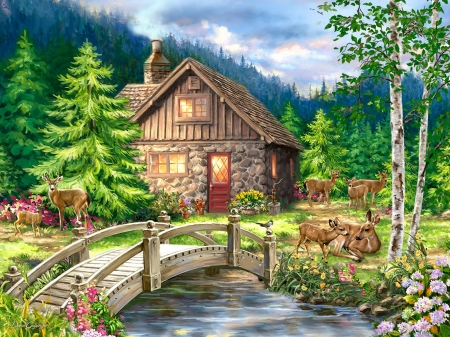 Mountain Cottage - house, bridge, painting, river, sky, trees, deer, artwork