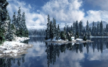 Wonderful Winter Landscape - water, snow, mountains, nature, reflections, trees, Winter, lake