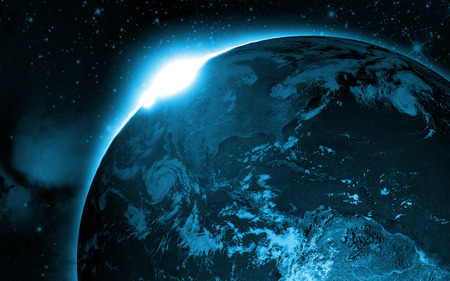 Earth From Space - stars, horizon, planet, blue light, space, galaxie, earth