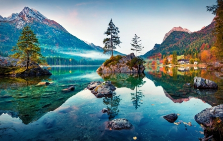 Hintersee lake, Germany - fall, autumn, serenity, rays, beautiful, Germany, reflection, lake, mountain
