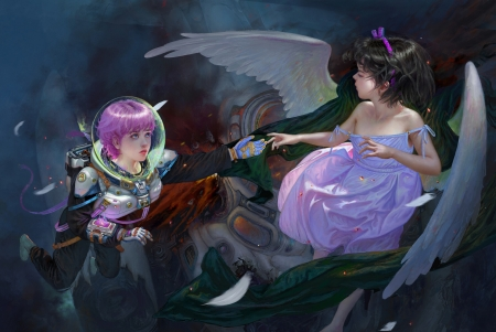 The guardian angel - ting xie, view from the top, cosmonaut, wings, frumusete, luminos, astronaut, angel, superb, fantasy, purple, girl, gorgeous