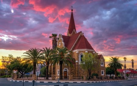 Church in Namibia, Africa - Namibia, clouds, Africa, church, palms