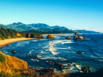 Late summer sun over Ecola State Park, Oregon