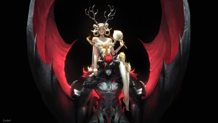 The Black Dragon Emperor and the White Deer Queen - red, frumusete, luminos, black, queen, man, dragon, deer, fantasy, girl, eilene cherie, dark, emperor, white, couple