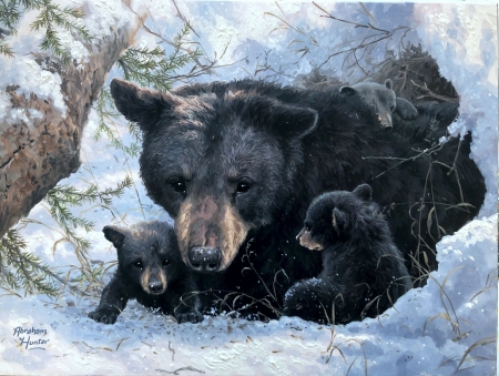 Snuggled In - snow, mom, painting, bears, cubs, artwork