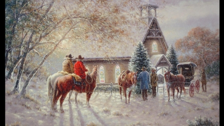 Gathering at the Church - Snow, Painting, Cowboys, Winter, Buggy, Beautiful, Bell Tower, Bushes, Art, Stained Glass Windows, Trees, Church