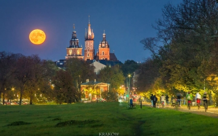 Krakow, Poland - Poland, Krakow, Moon, church, night