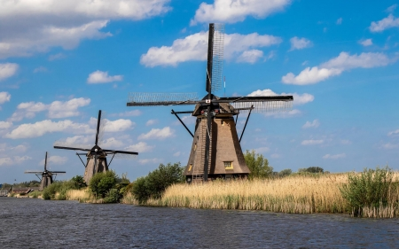 Windmills in Holland - netherlands, clouds, Holland, windmills, canal
