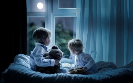 Boys by Window - boys, Moon, night, teddy bears, window, children