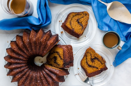 Pumpkin cake - cake, food, pumpkin, chocolate, cup, sweet, blue, dessert, coffee