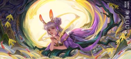Diao Chan - yellow, pink, frumusete, luna, goddess, ears, superb, star academy, fantasy, moon, girl, bunny, gorgeous