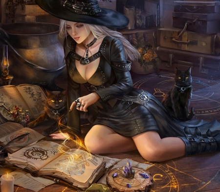 Witch apprentice - dark, halloween, hoang lap solan, hoanglapsolan, witch, frumusete, luminos, black, cat, fantasy, girl, pisici