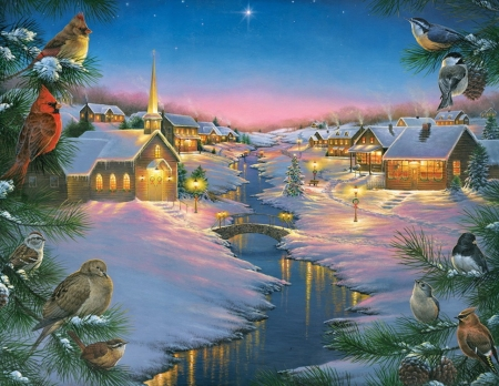 christmas time - houses, lights, stars, snow, pinetrees, birds, church