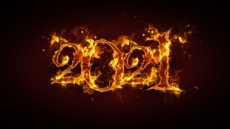 Flaming 2021 - fire, typography, year, flames, vignette