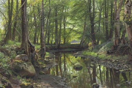 Stream in the forest - rocks, art, forest, pretty, realists, Peter Mork Monsted, danish, HD, trees, water, paintings, moss, nature, reflections
