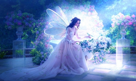 Light Fairy - ethereal, Magical, mythical, pink, Pastel, unearthly, wings, Fairy, digital, Roses, Softness beauty