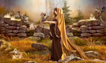 Maiden and the Dragon Forest - Maiden, forest, fantasy girl, golden, Magical, Rock eall, dragons, Mythical, quartz