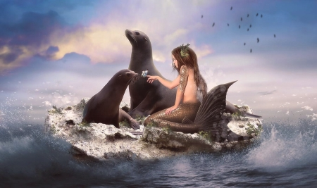 Selkies and the butterfly - Fantasy art, sea lion, Water, ocean, mermaid, selkies