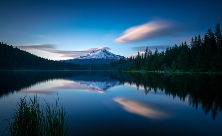 Cloud floating over Mt Hood at sunset, Trillium Lake - water, reflections, usa, oregon, trees, sky