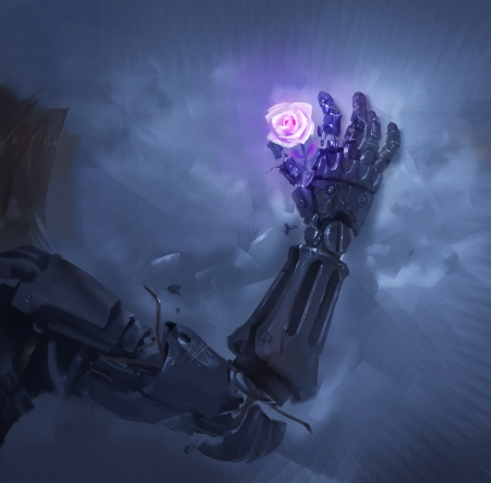 The beauty of a rose - flower, hand, jesse chan, cyber, pink, blue, art, rose, luminos, robot, fantasy