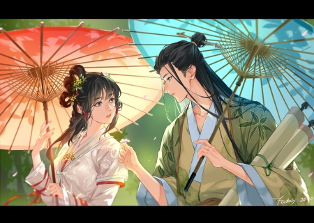 A flower for my beauty - man, parasol, fantasy xing, couple, red, luminos, umbrella, yellow, fantasy, green, girl, blue