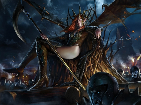 Dragon girl - fantasy, girl, dragon, luminos, dark, hekl