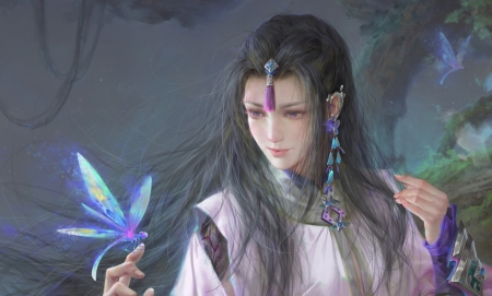 Fantasy girl - hand, mie kyu9, art, frumusete, luminos, superb, fantasy, girl, butterfly, purple, asian, gorgeous