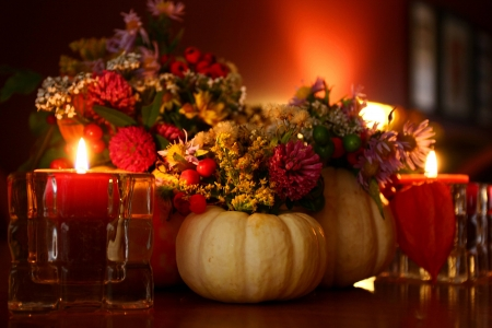 Autumn Beauty by Candlelight - pumpkins, candles, still life, autumn, beauty, flowers