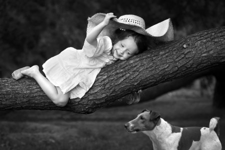 :) - cute, girl, caine, copil, smile, child, hat, dog, cowgirl