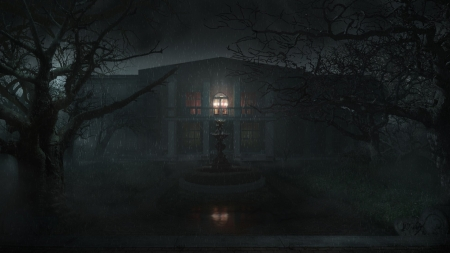 Rainy Night - rain, gothic, dark, creepy, house, mansion
