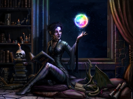 the dragon witch - witch, books, magic, dragon, woman, skull, night