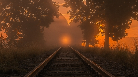 Foggy Sunset in northern Germany - colors, railroad, trees, landscape