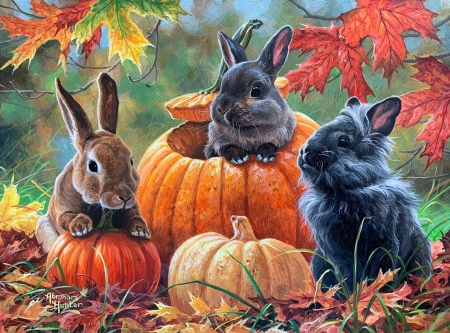 Pumpkin Patch Bunnies - autumn, pumpkins, painting, rabbits, colors, artwork