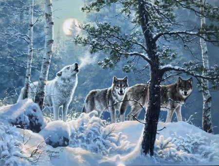 Under The Moonlight - winter, forest, snow, painting, wolves, trees, artwork