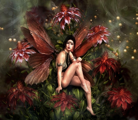 Fairy in the Flower - flower, wings, girl, fairy