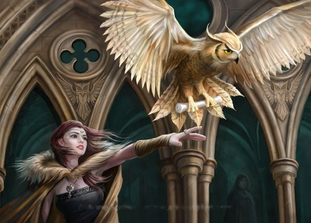 Owl Messenger - church, girl, bird, pillars, art, digital