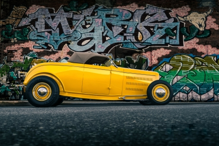 Mellow Yellow '32 Ford Roadster Convertible - cars, roadster, hotrod, ford