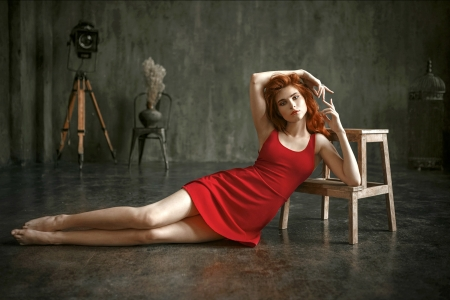 Beautiful Viola in a Red Dress - red, dress, redhead, model