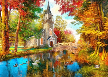 Fiery Autumn Day - bridge, colors, ducks, river, trees, church, swans, fall, artwork, digital