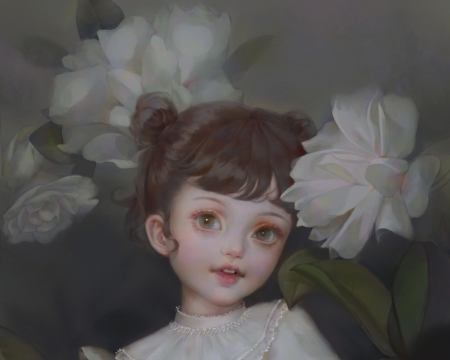 Cute little girl - art, cute, fantasy, girl, copil, flower, mjxqq, child