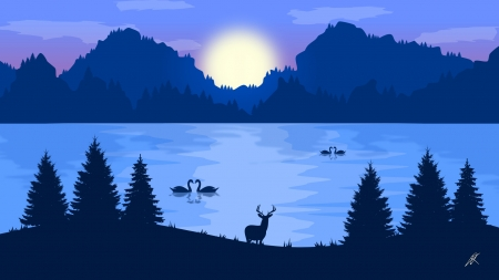 Swan lake - lake, deer, blue, luminos, fanrasy, swan, deflang arts, silhouette, water, moon, night, vector