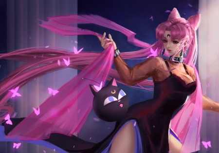 Black Lady - girl, anime, manga, sailor moon, karl liu, cat, black kady, frumusete, luminos, fantasy, pink