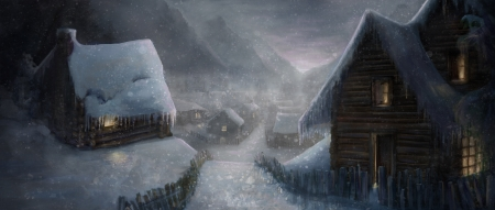 Winter village - village, ice, sniw, frozen, t l theiss, winter, art, house, luminos, iarna, fantasy