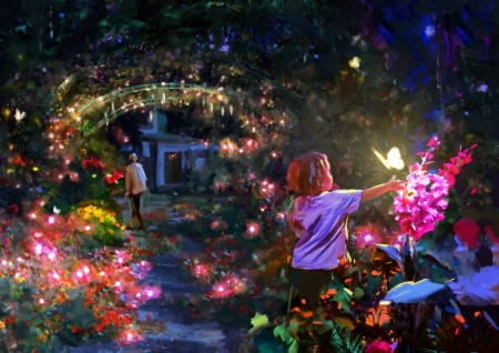 Flower tunnel - child, t l theiss, pink, night, lights, art, frumusete, luminos, fantasy, butterfly, copil, blue