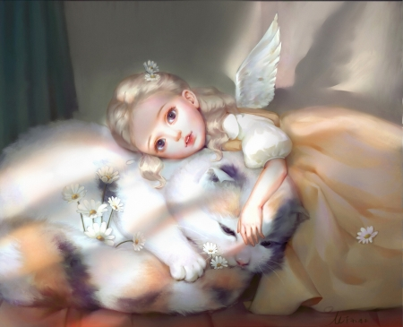 Little angel and a sleepy kitten - art, sleep, luminos, angel, superb, cat, cute, fantasy, girl, copil, child, mjxqq, pisici, kitten, gorgeous, fairy, mini